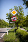 70 speed sign at the side of a road Royalty Free Stock Photography