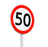 Speed sign 50 on white background Royalty Free Stock Photos