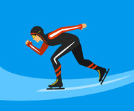 Speed Skating on Ice Rink. Speed Skater  Race on Ice Rink Vector Illustration Royalty Free Stock Photos