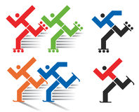 Speed skating and  inline skating icons. Colorful and black symbols of inline and ice skating.Vector available Stock Photo