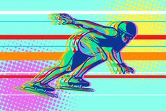 Speed skating, skater on the ice, winter sports. Comic cartoon style pop art illustration vector retro Royalty Free Stock Photography