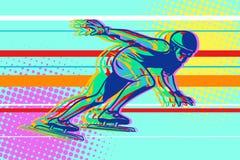 Speed skating, skater on the ice, winter sports. Comic cartoon style pop art illustration vector retro Royalty Free Stock Photography