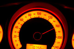 Speed on speedometer Royalty Free Stock Images