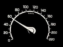 Speed. Ometers. Car -meter. Round black gauge without chrome frame for transportation, racing or another design Royalty Free Stock Photos