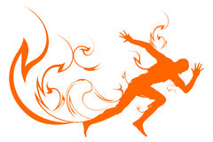 Speed and spirit. Man running with abstract fire illustration Stock Images