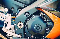 Speed sport motorcycle engine. Close up of 2000cc sport motorcycle engine designed for speed Stock Photos