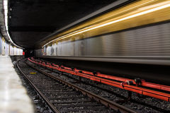 Speed Subway Train. Subway train in motion in Piata Romana station Bucharest, Romania Royalty Free Stock Photos