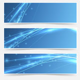 Speed swoosh electric wave lines header set Stock Photography