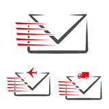 Speed symbol of delivery message e-mail. Fast air transport and freight traffic. Symbol of letters, envelopes. Stock Photo