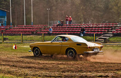Speed test Volvo P1800. Speed test of a beautiful vintage Volvo P1800 during old cars race in Wejherowo, Northern Poland Stock Images
