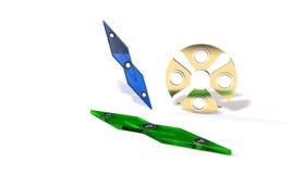 Speed and titanium fidget spinner, 3d render Stock Photos