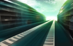 Speed track road in business city wallpaper. Illustration Stock Photos