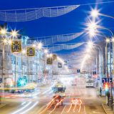 Speed Traffic - Light Trails On City Road At Night Royalty Free Stock Photo