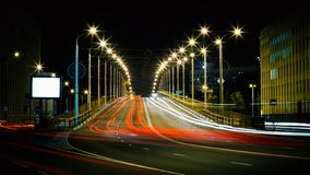 Speed Traffic - Light Trails On City Road At Night Royalty Free Stock Photography