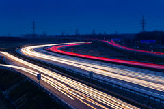 Speed traffic light trails on motorway M0 to Budapest Stock Image