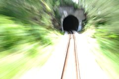 Speed train. Empty railroad trck with blur effect royalty free stock image