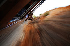 Speed train. Photo from the window of Palma to Soller train Royalty Free Stock Photo