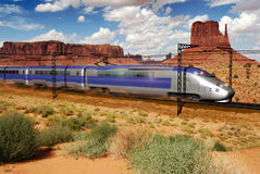 Speed train crossing the desert royalty free stock photography