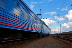 Speed train departure Royalty Free Stock Photo