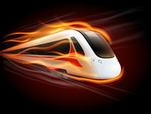 Speed Train Fire Black Background Design. Night high-speed train on the way enwrapped in fire flames spectacular railways image poster print  illustration Royalty Free Stock Photos
