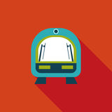 Speed train flat icon with long shadow. Cartoon vector illustration stock illustration