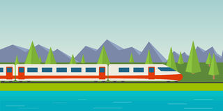 Speed train. Lake, pine and fir forest, and mountains Royalty Free Stock Images