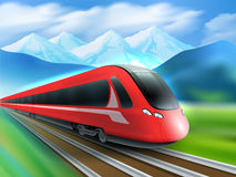 Speed Train Mountains Background Realistic Poster. Red streamlined high-speed day train with mountain range background realistic image ad poster print vector Royalty Free Stock Photo