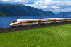 Speed train passing by the mountains. Scenery of modern high speed train passing by the mountains and flords in Norway Royalty Free Stock Photos