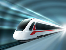 Speed Train Railway Station Realistic Poster. Super streamlined high speed train station tunnel with motion light effect background realistic poster print vector Stock Photography