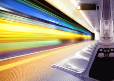 Speed train in subway. Motion blur outdoor of high speed train in subway stock photo