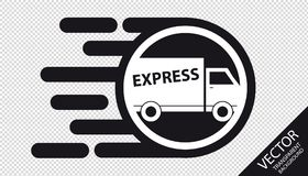 Speed Transporter Flat Icon - Very Fast Delivery Express Concept - Vector Illustration - Isolated On Transparent Background