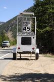 Speed trap. A photo radar speed trap set up on a two lane mountain highway Royalty Free Stock Photos