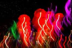 Speed of umbrellas neon light Stock Photo
