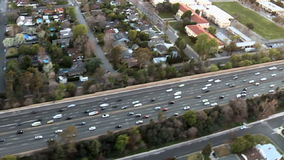 Speed Up Aerial View of Los Angeles Freeway / Highway / Suburbs - Clip 3 stock footage