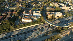 Speed Up Aerial View of Los Angeles Freeway / Highway / Suburbs - Clip 2 stock footage