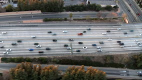 Speed Up Aerial View of Los Angeles Freeway / Highway / Suburbs - Clip 1 stock footage