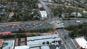 Speed Up Aerial View of Los Angeles Freeway / Highway / Suburbs - Clip 8 stock video footage