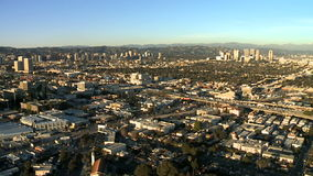 Speed Up Aerial View of Los Angeles Freeway / Highway / Suburbs stock video