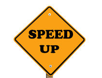 Speed up sign. Speed up warning sign isolated with clipping path at this size Stock Photo