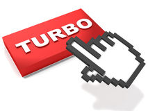 Speed up. Turbo or speed up concept, hand icon clicking the button on white background Royalty Free Stock Photos