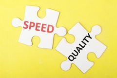 Speed versus quality Stock Images