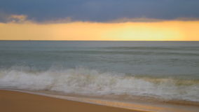 Speed video of overcast and golden sky. At horizon of the sea in Thailand stock video footage