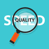 Speed vs quality of services and product concept business analysis magnifying glass symbol Royalty Free Stock Images
