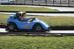 Speed is what you need at Dawlish Warren go karts May 2015 stock images