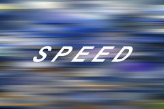 Speed. The word & x22;Speed& x22; on a blue blurred background Royalty Free Stock Images