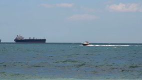 Speed yacht in open waters stock video footage