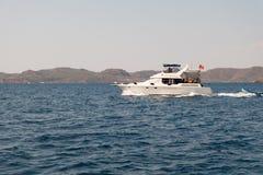 Speed yatch crusing on the sea. Turkey Stock Image