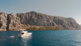 Speed yatch crusing on the sea. Turkey Royalty Free Stock Photography