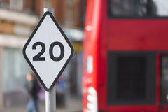 Speed zone sign showing maximum of 20mph Royalty Free Stock Image