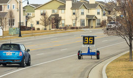 Speed Zone Trailer Showing Speed With Vehicle Stock Photos